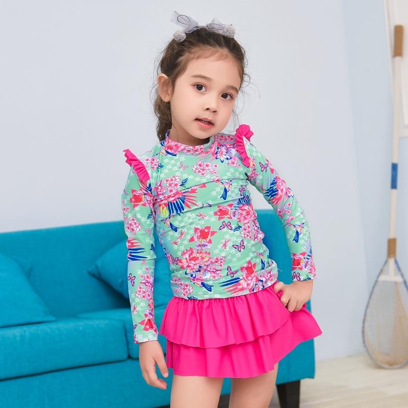 Korean-style Girls Baby 4 Pieces In A Set Split Type Swimwear Long Sleeve Trousers Children Skirt-Hat Coat Diving Suit