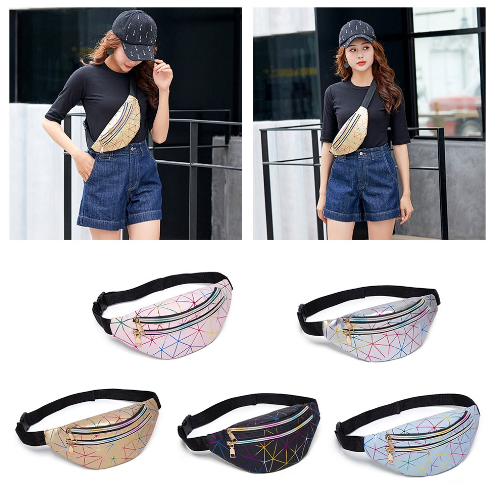 Fashion Brand Waist Bags Women Pink Silver Fanny Pack Female Belt Bag Black Geometric Sport Waist Pack Laser Chest Phone Pouch