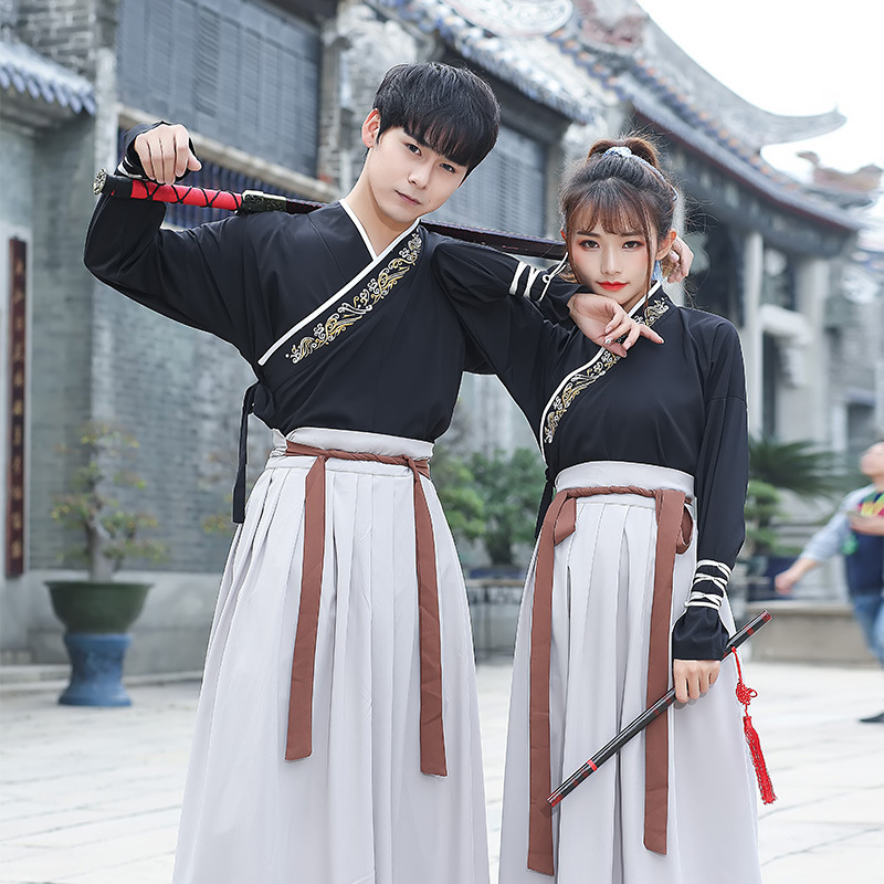 Embroidery Hanfu Black Classical Dance Costume Traditional Fairy Dress Neutral Folk Festival Outfit Performance Clothes DF1502