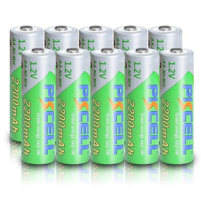 10 個pkcell aa 2200mahバッテリ 1.2vニッケル水素単三充電式電池 2A precharge lsd電池ニッケル水素のためのカメラおもちゃ
