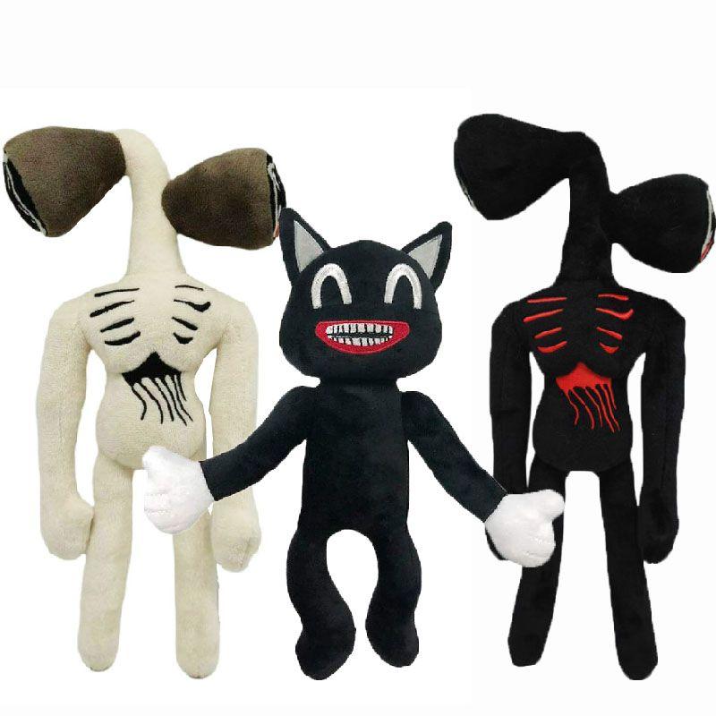 35cm sirene cabeça animais de pelúcia boneca kawai sirenhead anime plushie preto impresso gato dos desenhos animados brinquedos de pelúcia para presentes de aniversário dos meninos