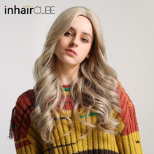 Inhaircube Long Curly Blond Lolita Wigs for Women Cosplay Synthetic Hair with Ba