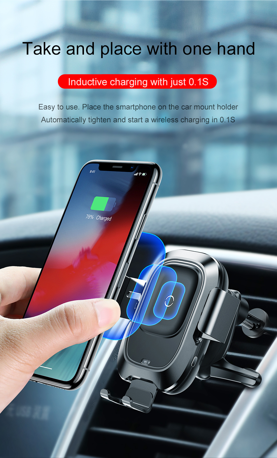 Baseus Qi Car Wireless Charger For iPhone Xs Max Xr X Samsung S10 S9 Intelligent Infrared Fast Wirless Charging Car Phone Holder 5