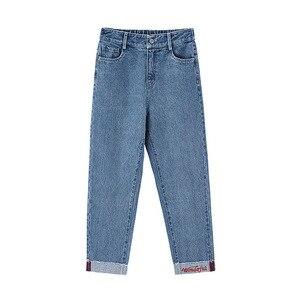 Image 5 - インマンスプリング秋冬文学すべて一致弾性ミディアムウエストルーススリム刺繍英語の手紙女性のジーンズ