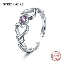 Strollgirl Authentic 925 Sterling Silver Infinite Heart Shape Ring Adjustable Open Rings Luxury Sterling Silver Jewelry 2019 стоимость
