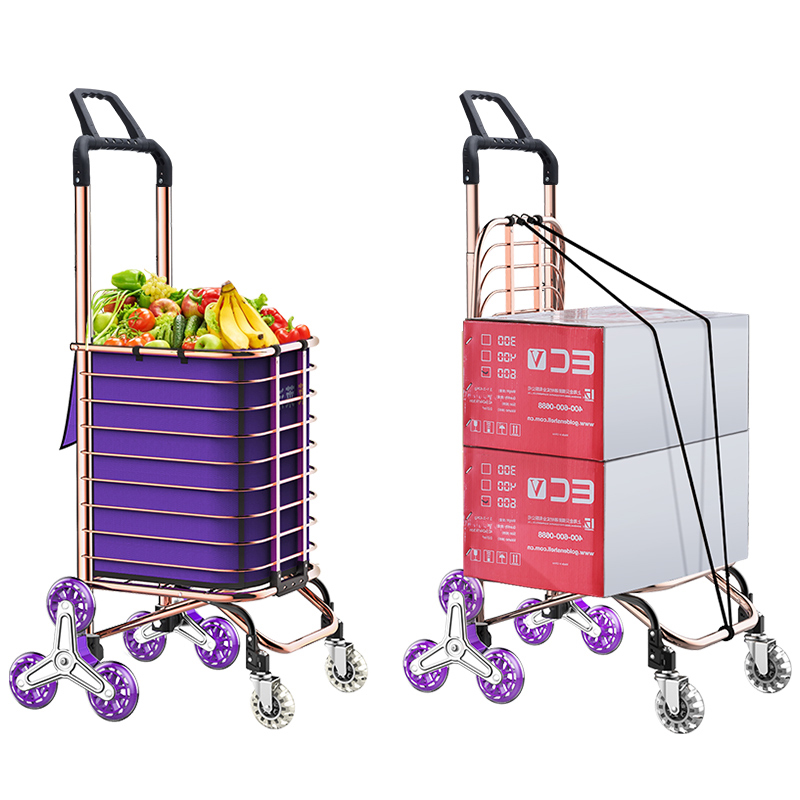 Luggage Cart Shopping Aluminum Alloy Folding Portable with Box 8 Round Shopping Cart Elderly Supermarket Grocery Shopping