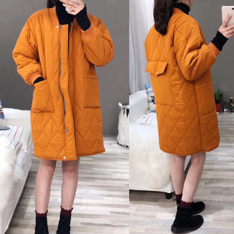 18 Autumn And Winter New Style Casual Simple Korean-style Stand Collar Solid Color Rhombus Mid-length Thick Cotton Overcoat Wome