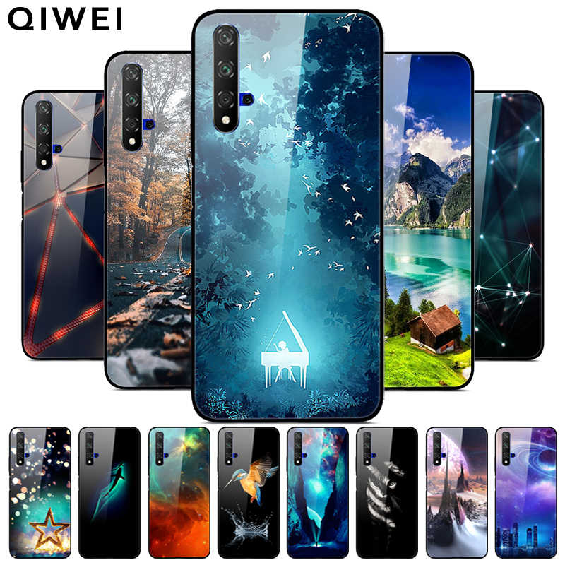 For Huawei Nova 5t Case black Silicone Bumper Coque Glass Hard Back Cover For Huawei Nova 5T Nova5t 5 t Phone Cases Tempered