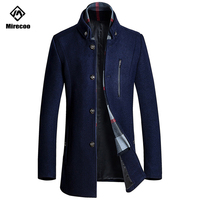 Winter Business Wool Coat Slim Fit Jackets Detachable Scarf Fashion Outwear Warm Man Casual Jacket Overcoat Pea Coat Clothing