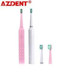 Azdent typ baterii szczotka 6 trybów elektryczna soniczna szczoteczka do zębów dla dorosłych dzieci zegar bateria szczoteczka do zębów wybielanie zębów