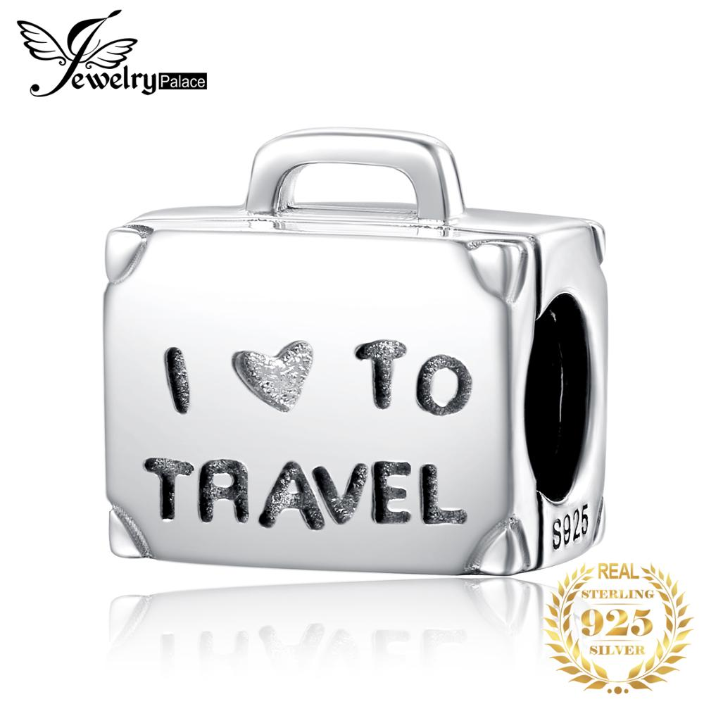 JewelryPalace Travel Luggage 925 Sterling Silver Beads Charms Silver 925 Original Fit Bracelet Silver 925 Original Jewelry Lady