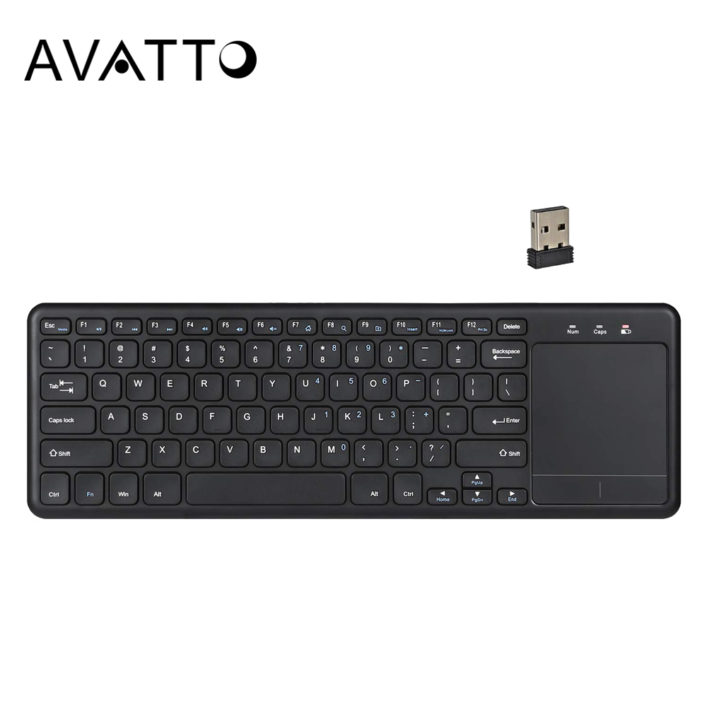AVATTO Super Slim 2.4G Wireless Gaming Keyboard With TouchPad For Andriod IOS Phone Tablet Smart TV Android Box