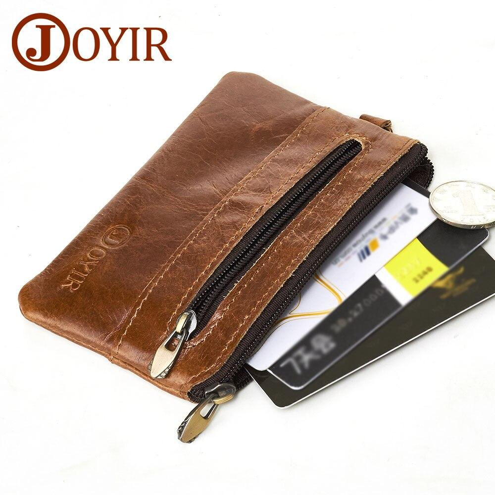 JOYIR Coin Purse Men Genuine Leather Wallets Men Wallet Women Vintage Slim Zipper Short Wallets Card Holder Pouch For Cards New