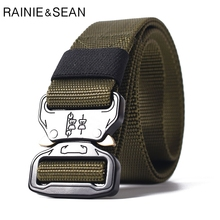 RAINIE SEAN Release Buckle Belt Men Canvas Military Belts Army Green Male Outdoor Tactical Mens Waist Strap Plus Size 125cm