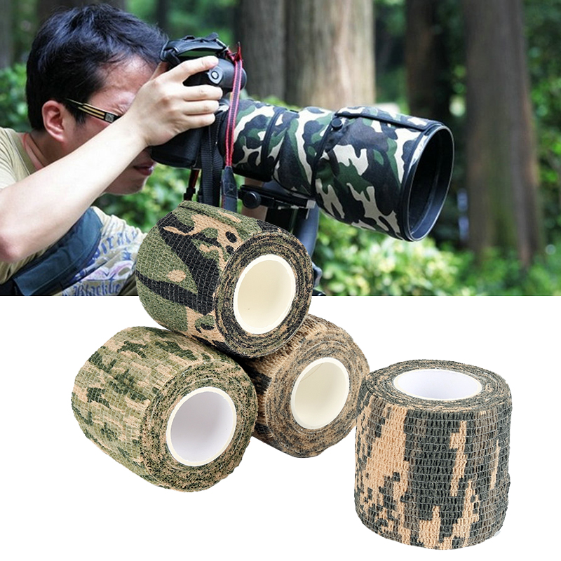 Outdoor Hunting Protect Grass Camouflage Army Hunting Shooting Blind Wrap Self-adhesive Telescopic Non Woven Waterproof Tape