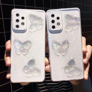 Image 2 - Custodia morbida trasparente per telefono con farfalla glitterata per Samsung Galaxy A72 A52 A71 A51 A12 A42 A21S A50 A70 A10 A30 conchiglia carina