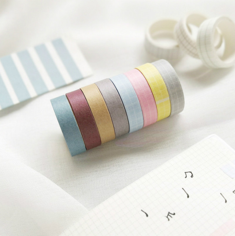 10/13mm Paper Basic Solid Color Decorative Grid Foil Washi Tape Stickers Scrapbooking Cute Stationary Japanese Planner Accessori