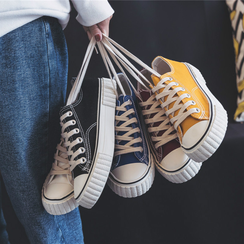 Classic Breathable Canvas Shoes Women's Four Seasons New Style Students Korean-style Harajuku Ulzzang Hong Kong Style Casual Low