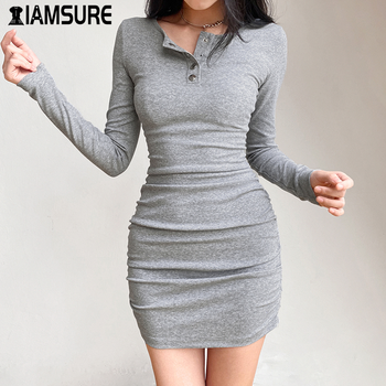 IAMSURE sexy tight dress mini long sleeve dresses Cotton Dresses Women Full Sleeve Snug Button pleated womens