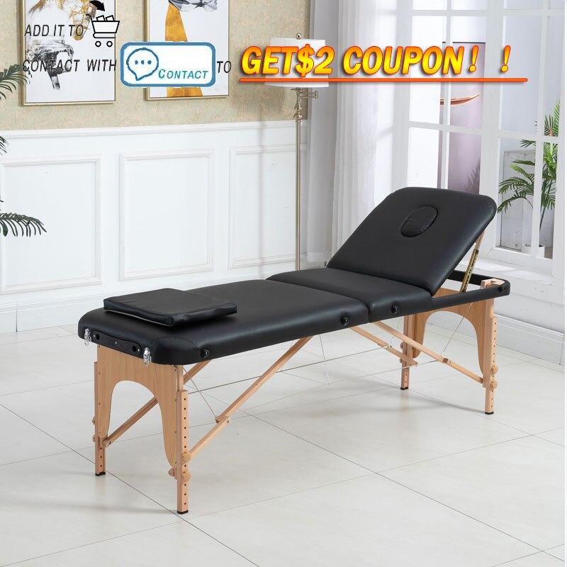Tabela de spa ajustável massagem cama 3 dobre massagem sofá portátil liga da cama do salão beleza com travesseiro quadrado mochila portátil