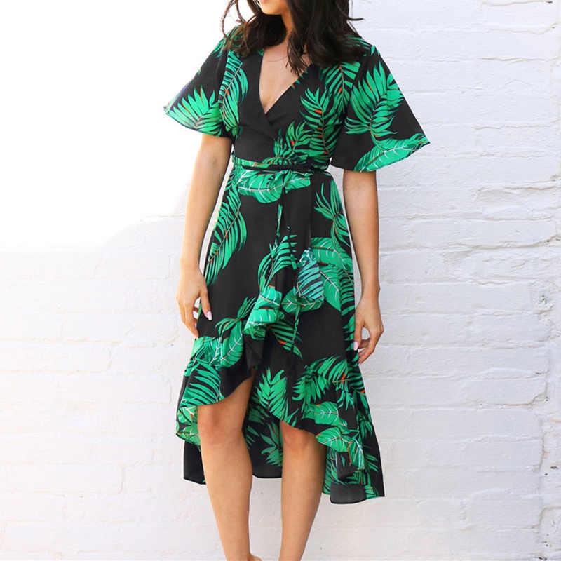 Aachoae feminino floral impressão vestido longo boho estilo verão praia vestido de manga curta elegante vestido de verão vestidos