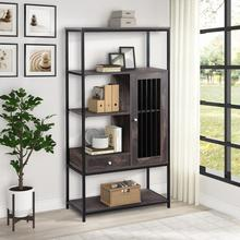 Office Bookcase Home Bookshelf 5 Tier Display Shelf With Drawers Multifunctional Storage Shelving