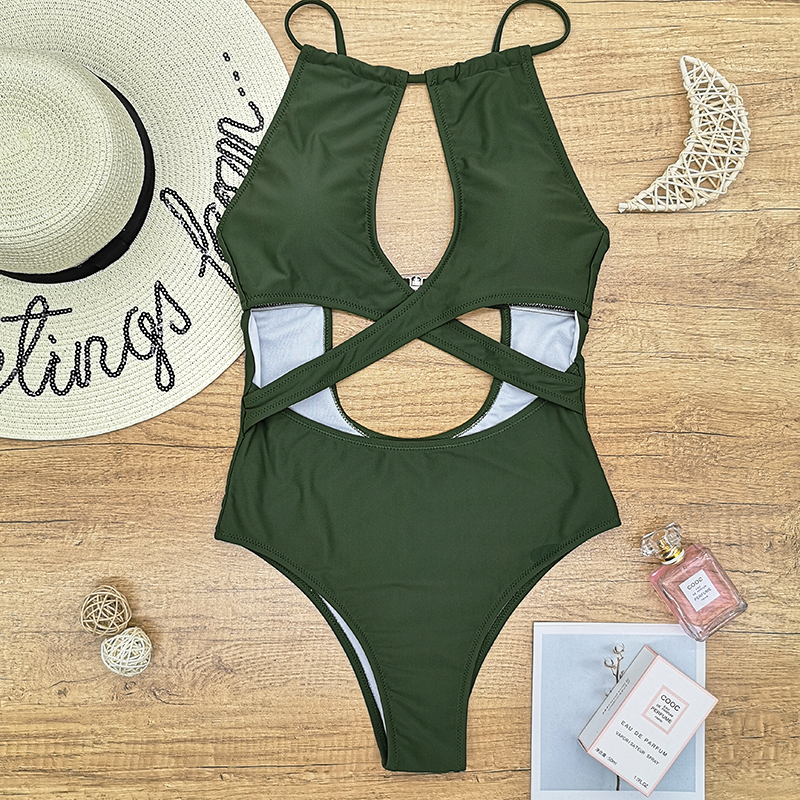 2020 girls army green black red backless one piece swimsuit women swimwear wire free swimming cross high neck white push up sale