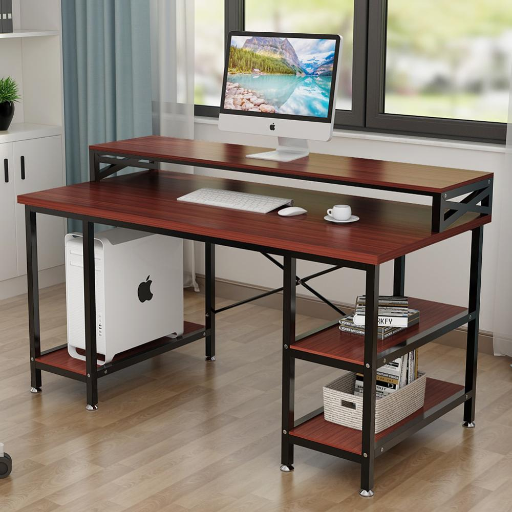 - Tribesigns Computer Desk With Storage Shelves, 55 Inch Large