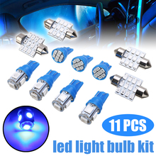 For Car Lighting 11pcs Blue LED Festoon Interior Dome Map Tag Light Lamp Bulb Kit T10 5 8 SMD +31mm 12 SMD License Plate Lights цена в Москве и Питере