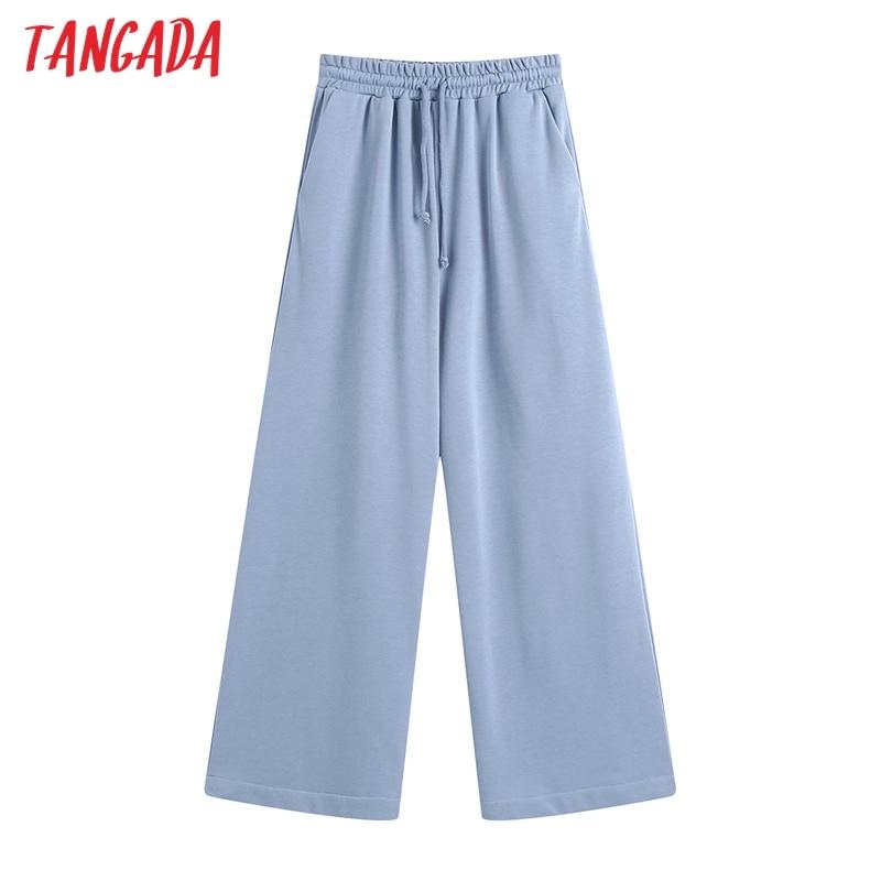 Tangada-pantalones de pierna azul ancho para mujer, pantalón largo de cintura elástica, informal, a la moda, para primavera, BE223