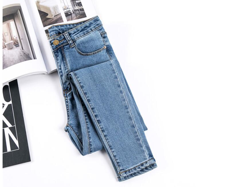 Women's Stretch Jeans, 2019 Autumn Black Denim Trousers Student Jeans 3 Color Pencil Pants