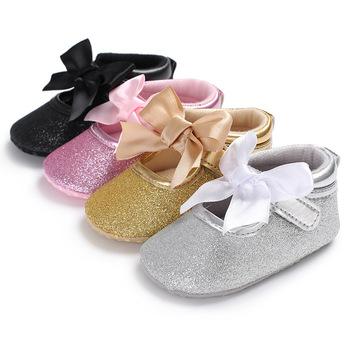 Dziecięce mokasyny dziecięce dziewczynek buty dziecięce party księżniczka szopka buty noworodka wygodne noworodki buty dziewczęce pierwszy Walker dla 0-18M tanie i dobre opinie Butterfly-knot Wszystkie pory roku Hook loop Patchwork Baby girl COTTON Pasuje prawda na wymiar weź swój normalny rozmiar