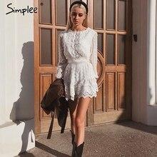 Simplee 섹시한 흰색 쉬폰 드레스 여성 긴 랜턴 슬리브 레이스 드레스 점 여성 럭셔리 슬림 저녁 파티 드레스 vestidos