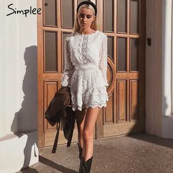 Simplee Sexy white chiffon dress women Long lantern sleeve lace dresses dots female Luxury slim evening party dress vestidos - DISCOUNT ITEM  40 OFF Women\'s Clothing