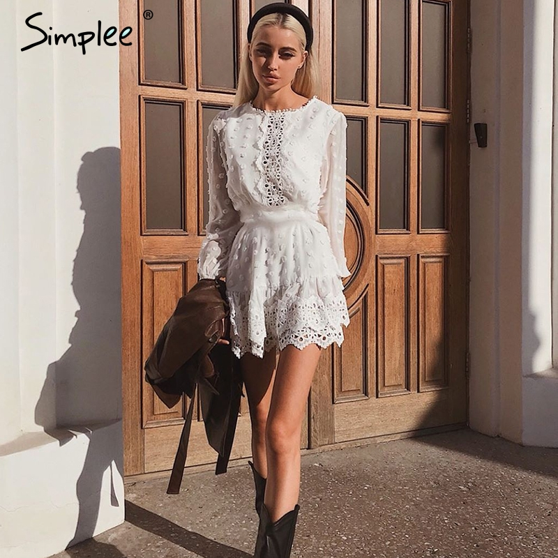 Simplee Sexy white chiffon dress women Long lantern sleeve lace dresses dots female Luxury slim evening party dress vestidos