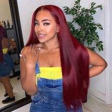 Wigs Lace-Frontal Burgundy Human-Hair-Wigs Brazilian Straight Closure T-Part 99J 13x1