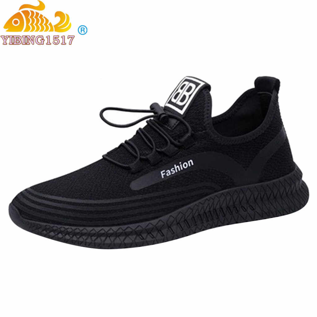 2019 Spring Summer New Mens Casual Breathable Outdoor Mesh Running Flying Knit Casual Sports Student Fashion Slim Shoes Sneakers
