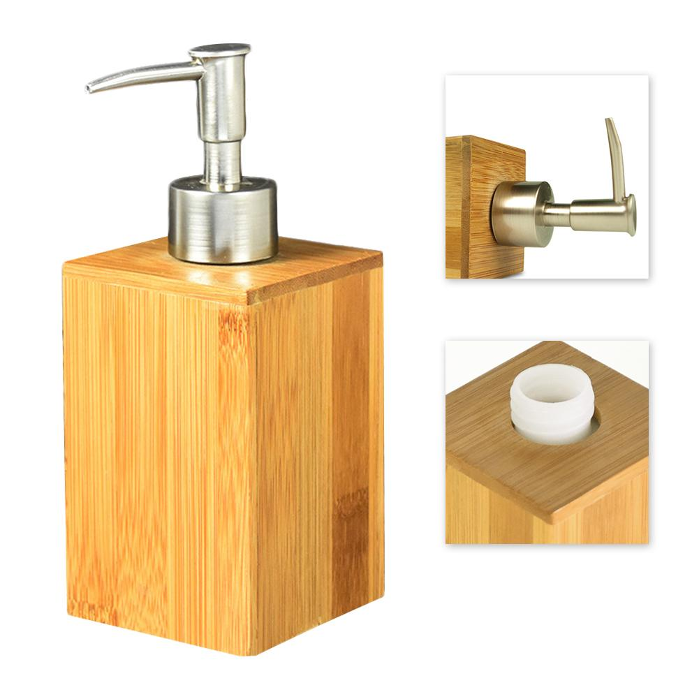 Home Bathroom Liquid Soap Dispenser Hand Sanitizer Bamboo Bottle Restaurant Hotel Lotion Tank Press Shower Gel Hand Soap Bottle