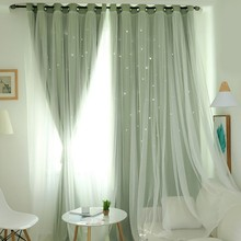 Window Curtains For Living Room With Star Tassel Black Out Blinds Nordic Ins Modern Tulle Double