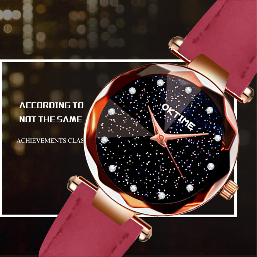 Womens Romantic Starry Sky Faux Leather Analog Quartz Watch relgio feminino Special creative leather ladies watches 2020 Gift 4