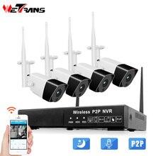 Wetrans Bewakingscamera 1080P Audio HD CCTV Wifi Camera NVR Surveillance Kit Wireless Outdoor Waterdichte 4CH 2CH