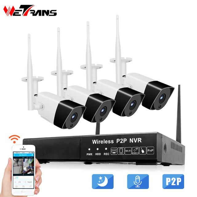 Wetrans Security Camera System 1080P Audio HD CCTV Wifi Camera NVR Surveillance Kit Wireless Outdoor Waterproof 4CH 2CH