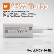 Original Xiaomi 27W Fast Mobile Charger QC4.0 EU Travel Wall Charging Adapter Usb C For Mi8 9 A2 A3 Mix 3 Redmi Note 7 8 9 Pro