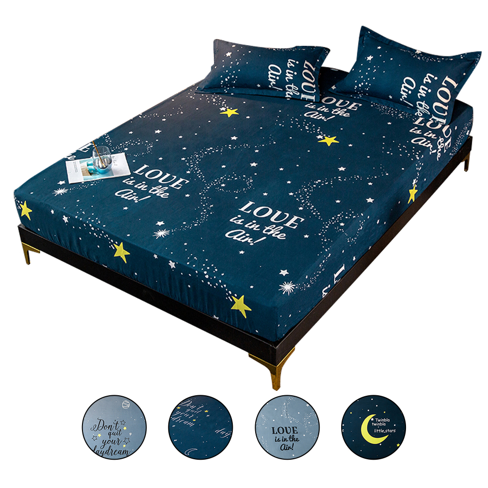 New Bed Sheet With Elastic Rubber Band Polyester Fitted Sheet Cartoon Pattern Bed Linens Mattress Cover Protector