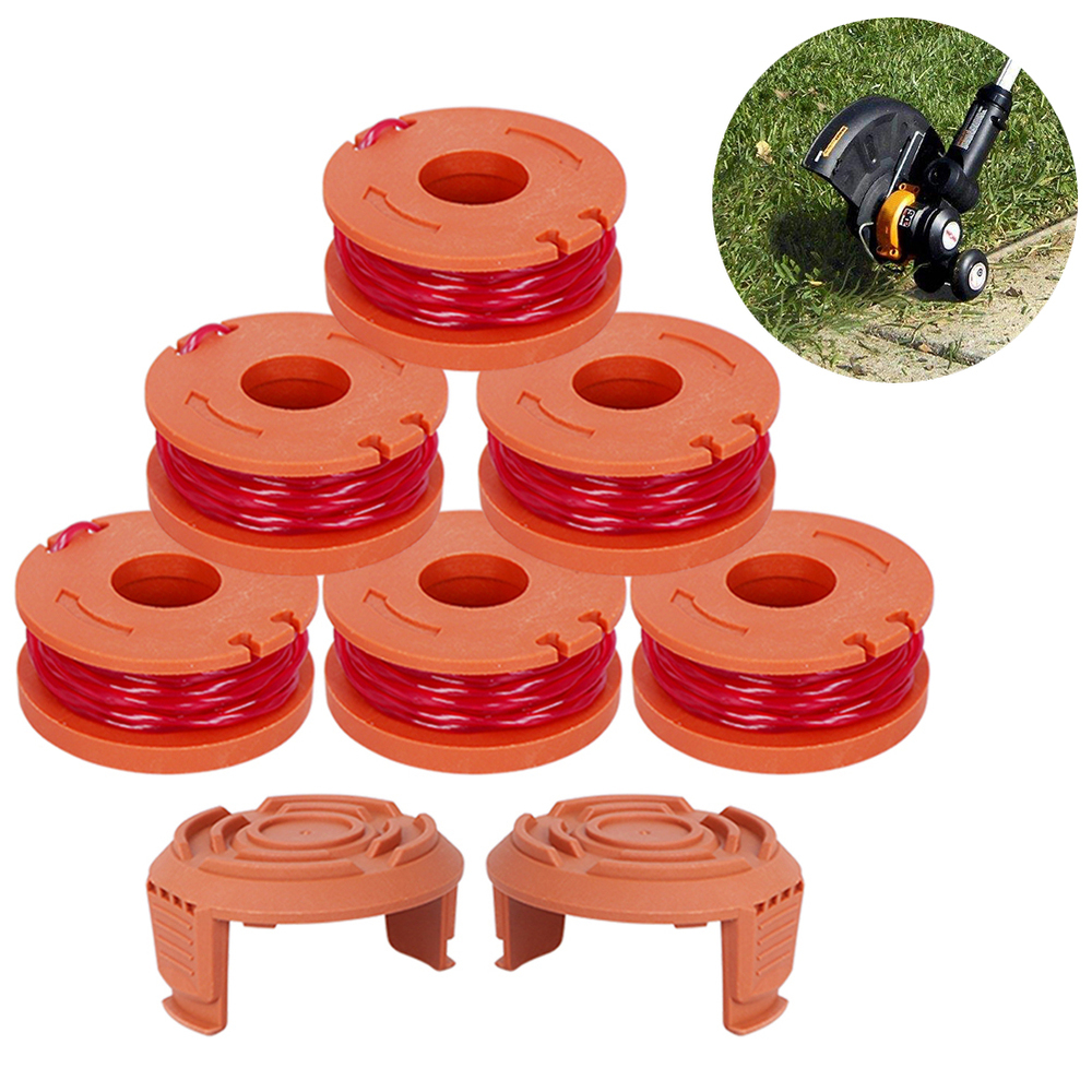 6+2 Pcs Replacement 10-Foot Grass Synthetic Trimmer/edger Spool Line Compatible Model Worx Wg180 Wg163 Wa0010 Power Tool