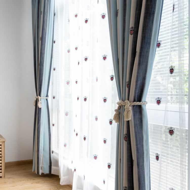 Coreano dos desenhos animados bordados listra azul escudo cortinas para sala de jantar quarto.