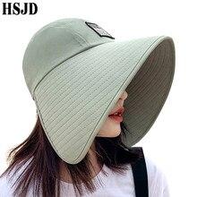 Women Summer Large Wide Brim Adjustable Visor Beach Hats Foldable Anti-UV Women Sun Hat Outdoor Travel Panama Female Cap Bonnet