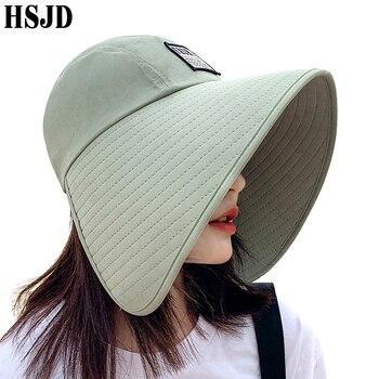 Women Summer Large Wide Brim Adjustable Visor Beach Hats Foldable Anti-UV Sun Hat Outdoor Travel Panama Female Cap Bonnet - discount item  39% OFF Hats & Caps