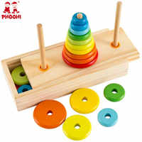 Hanoi Tower Kids Educational Toys Wooden Early Learning Classic Mathematical Puzzle Toy for Children