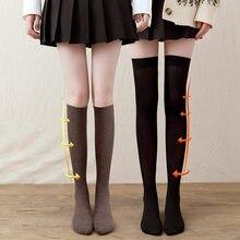 Inverno mulheres meias mais quentes engrossar meias térmicas para senhoras meninas sobre o joelho jk preto fino perna médio tubo japonês